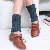 Braccialetto di cuoio per maglieria a maniche con bottoni a nastro Calze Calzamaglia per stivali Calze