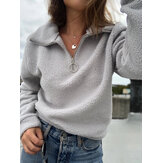 Women Solid Color Fluffy Half Zipper Front Long Sleeve Pullover Casual Sweatshirts