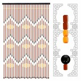 90 x 195cm 31 Line Retro Wooden Bead String Door Curtain Blinds Fly Screen for Porch Bedroom Bathroom