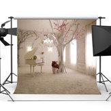 10x10FT Beyaz Piyano Odası Tema Gül Fotoğraf Backdrop Stüdyo Prop Arka Plan