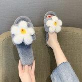 Frauen Blumendekor rutschfest Soft Bequeme Plüschbaumwolle Hausschuhe