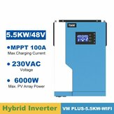 VM -PLUS-5.5KW 5500W Solar Pure Sine Wave Hybr1d Inverter 48V 220VAC MPPT 100A Solar Charger PV 500V Input Running without Battery with WIFI Function