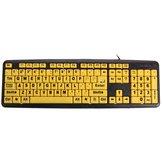 Teclas amarelas grande usb print teclado de computador de alto contraste letra preta para elder