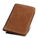RFIDBlokkerendeportemonneeEchtleerGrote capaciteit Beveiligde tri-fold portemonnee voor heren