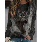 Women Black Cat Print Long Sleeves O-neck Casual Sweatshirt