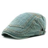 Cappello da berretto con visiera a punta di denim lavato casual da uomo