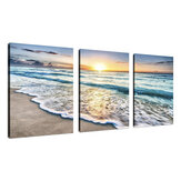 Beach Canvas Wall Art Sunset Sand Ocean Sea Wave 3 Panel Home Picture Decor Paintings