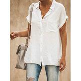 Casual Lapel Short Sleeve Solid Color Women Blouse Skjortor