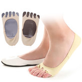 Donne Estate Vuoto Five Toe Anti Skid Calze Soft Calzino invisibile Sweat Cuscino Piede