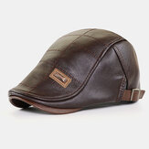 Men PU Leather Autumn Winter Solid Keep Warm Plus Velvet Fashion Leather Adjustable Beret Hat