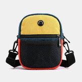 Unisex Corduroy Retro Fashion Trend Contrast Color Stitching Shoulder Bag Crossbody Bag