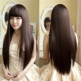 Charming Fluffy Straight Wig High-Temperature Fiber Natural Panjang Rambut Full Wigs Party 3 Warna Lucu