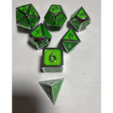 7Pcs Embossed Heavy Metal Polyhedral Dice DND RPG MTG Role Playing Game With Storage Bag