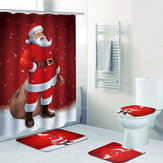 Home Decoration Santa Claus 3D Chrismas Shower Curtain For The Bathroom Waterproof Fabric Polyester Kids Bath Curtain 12 Hooks