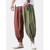 Mens vintage 100% cotone patchwork color block coulisse casual Pantaloni