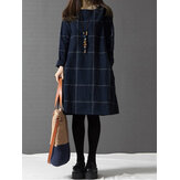 Casual Women Plaid Pocket Cotton Linen Long Sleeve Dress