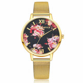 LVPAI Mesh Steel Band Casual Style Ladies Wrist Watch Flower Elegant Design Quartz Watch