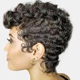 Siyah Ultra Kısa Kıvırcık Saç Yüksek Sıcaklık Elyafı Soft Afro Küçük Kıvırcık Peruk