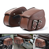 Brown Motorcycle PU Leather Saddlebags Swingarm Side Tool Bag For Harley