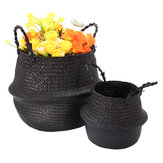 Black Seagrass Belly Basket Storage Holder Plant Pot Bag Home Decoration Storage Baskets