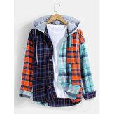 Homem 100% algodão xadrez patchwork com bolso no peito camisas com capuz de manga comprida