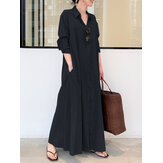 Women Retro Solid Color Turn-Down Collar Loose Casual Shirt Dress With Pocket