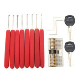 8Pcs Red Handle Kaba Lock Opener Lock Pick Tools with Transparent Practice Padlock