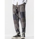 Pantaloni Harem in vita con coulisse in vita mista scozzese da uomo
