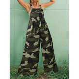 Women Sleeveless Camouflage Print Button Wide Leg Casual Jumpsuits