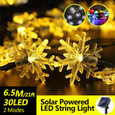 6.5M Solar Powered Snowflake 30LED String Light Waterproof Outdoor Christmas Home Garden Party Decorative Lamp