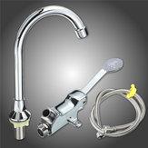 Single Cold Faucet Outlet Foot Plate 1m Flexible Hose Foot Pedal Valve Lab Home Kitchen Basin Faucet Tap