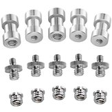 15PCS 1/4 3/8 Inch Metal Threaded Screw Converter Adapter Silver For DSLR Camera Tripod Gimbal