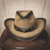 Men Sunscreen Travel Outdoor Summer Beach Hat Western Cowboy Style Spray Straw Hat