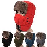 Mens Velvet Winter Russische Hoeden Outdoor Skiing Winddicht Met Maskers Lei Feng Caps