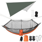 Double Person Camping Hammock with Mosquito Net + Awning Outdoor Hiking Travel Hanging Hammock Set Bearable 300kg