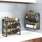 Черный стеллаж для приправ кухонной бытовой трехслойный стеллаж для хранения