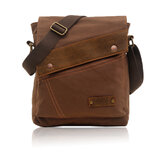 AUGUR Men Genuine Leather Canvas Leisure Shoulder Bag Vintage Style Crossbody Chest Pack