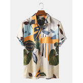 Banggood Designed Mens Tropical Floral Print Breathable Short Sleeve Casual Shirts