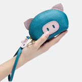 Women Genuine Leather Casual Cute Animal Pig Pattern Mini Hand Carry Coin Bag Storage Bag