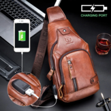 Bullcaptain Genuine Leather Business Casual Chest Bag Shoulder Crossbody Bag