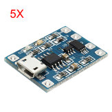 5Pcs Micro USB TP4056 Charge And Discharge Protection Module Over Current Over Voltage Protection 18650