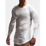 T-shirt de manga comprida casual masculina jacquard slim fit cor sólida gola redonda