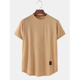 Mens Solid Color Simple Casual Round Neck Camisetas de manga curta