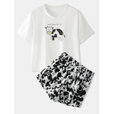 Women Cow Print Pajamas Short Set O-Neck Comfy Summer Sleepwear