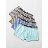 4Pcs Mens Modal Cozy Horizontal Stripe Logo Waistband Boxers Underwear With Pouch