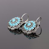 Vintage Ear Drop Earrings Hollow Blue Flower Plant Ear Hoop