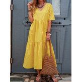 Saf Renk V Yaka Kısa Kol Pileli Günlük Elbise