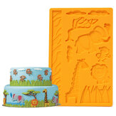 3D-Zoetermeer Siliconen Embossing Mould Animal Jungle World Fondant Cake Mould
