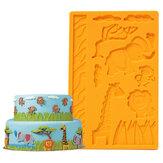 3d encaje zoológico de estampado de silicona molde mundo animal de la selva molde de pastel fondant