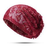 Women Flower Hollow Lace Beanie Hat Ethnic Turban Chemo Cap